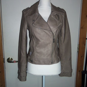 Sugarfly Grey Moto Style Faux Leather Jacket S